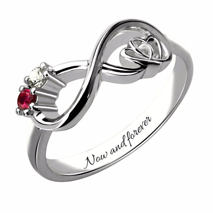 Two Stone Infinity Heart Silver Ring