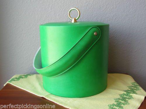 Vintage Collectible Bright Green Insulated Ice Bucket Mid Century Barware Clean | eBay