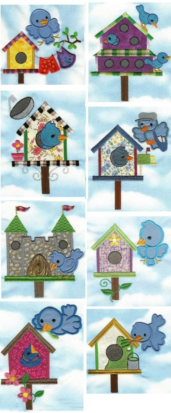 Bluebirds and Birdhouse Applique design set available for instant download at designsbyjuju.com