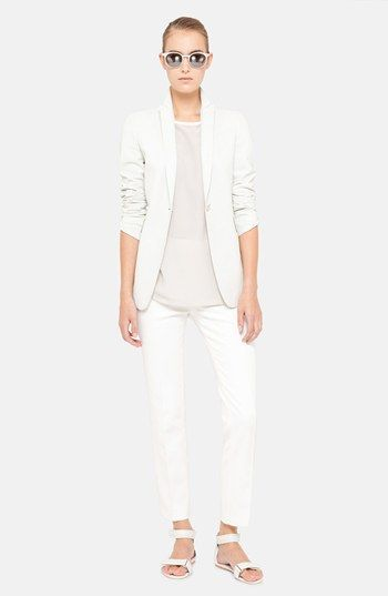 Akris punto Leather Jacket, Blouse & Crop Pants  available at #Nordstrom
