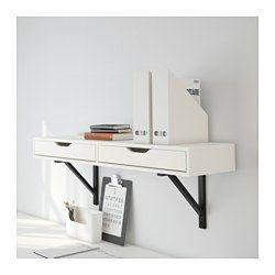IKEA - EKBY ALEX / EKBY VALTER, Plank met lade, wit/zwart, , Blokkeerstukken voorkomen dat de lades te ver worden uitgetrokken.