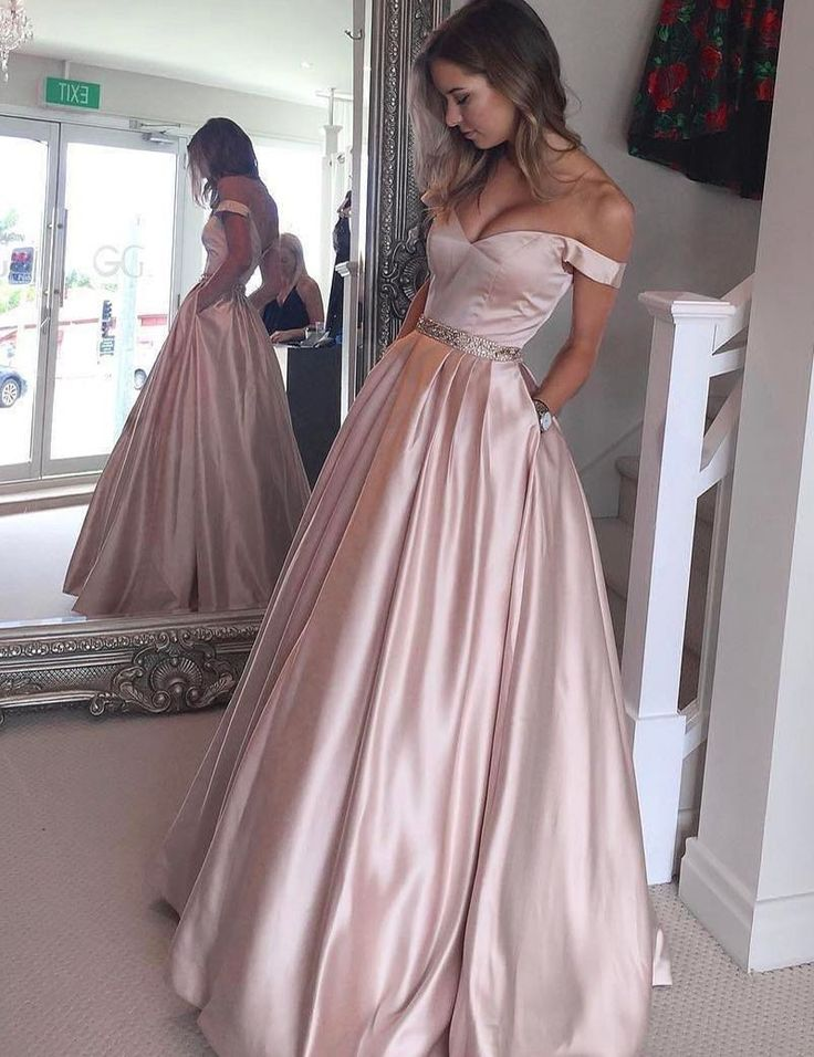 Chic Off Shoulder Floor Length Pearl Pink Prom Dress with Beading Pockets