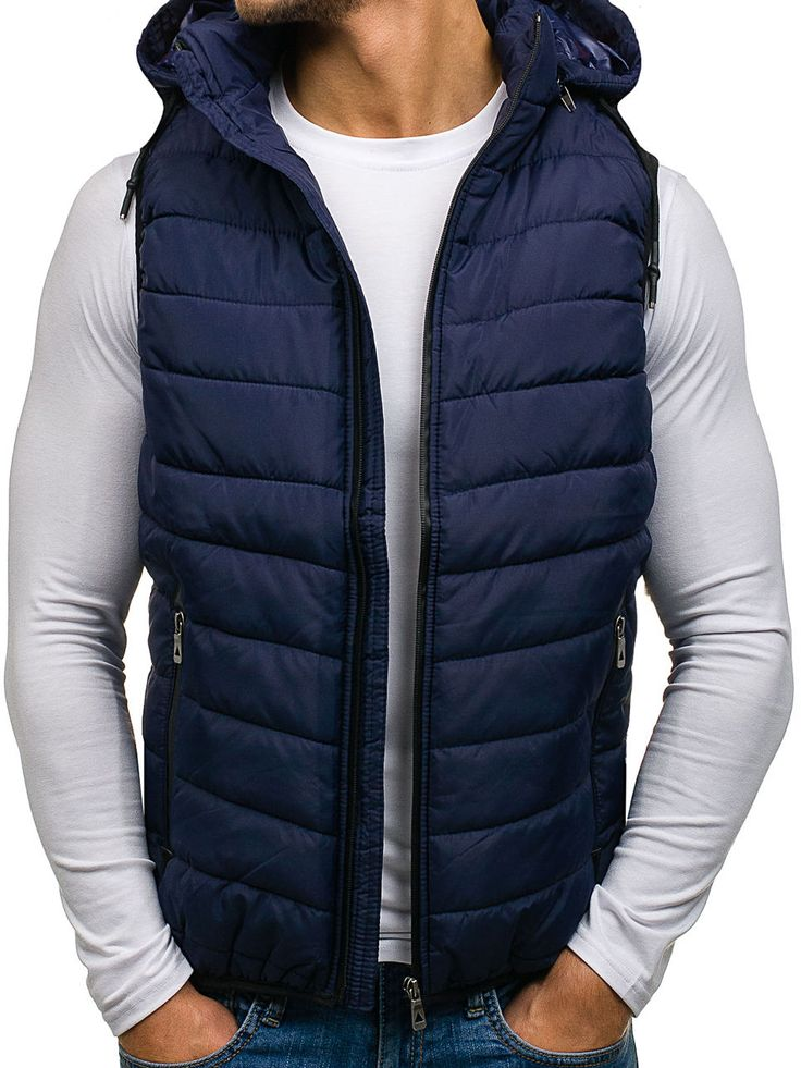 Navy blue men's vest Manufactured for Bolf by J.Boyz The model (182 cm, 82 kg) is wearing size XL Fabric: 100% Polyester