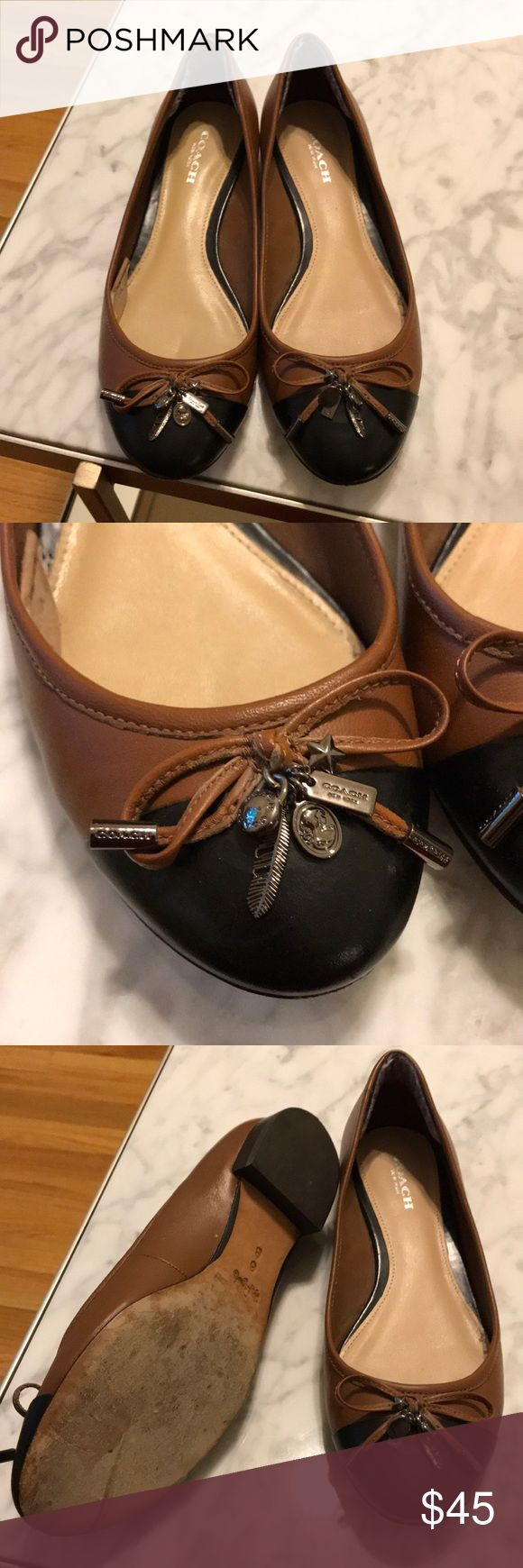 Coach flats Brown and black coach flats. In great condition! Size 6 Coach Shoes Flats & Loafers