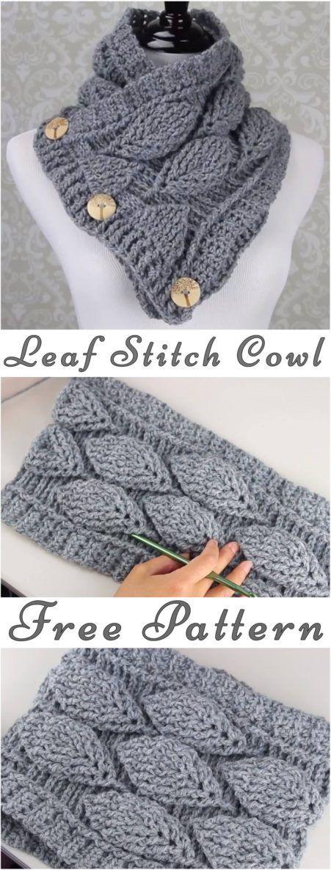 Crochet Leaf Stitch Cowl Free Pattern – Yarnandhooks