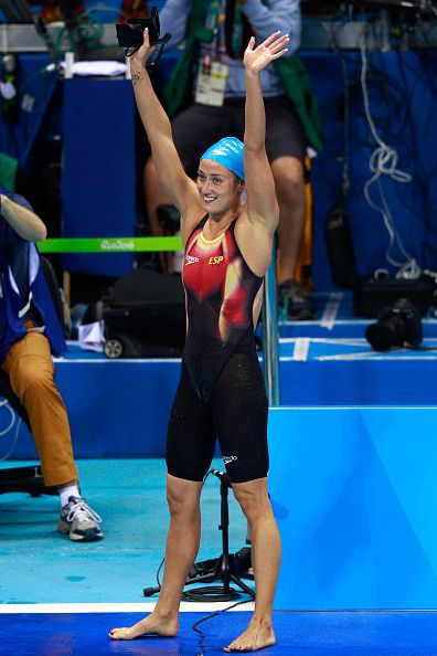 #RIO2016 Mireia Belmonte Garcia of Spain celebrates winning gold in the Women's 200m Butterfly Final on Day 5 of the Rio 2016 Olympic Games at the Olympic...