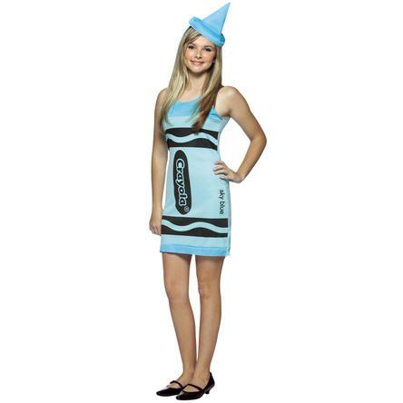 Crayola Rasta Imposta Crayola Sky Blue Tank Dress Teen Costume-
