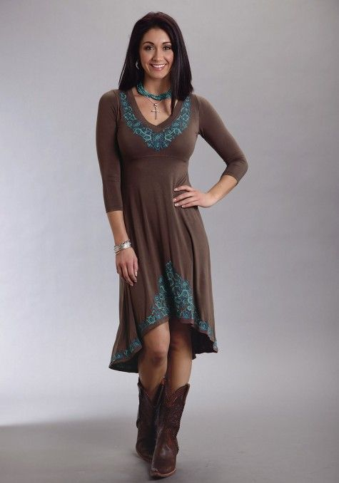 Stetson® Brown Turquoise Embroidered Hi-Lo Hem Western Dress