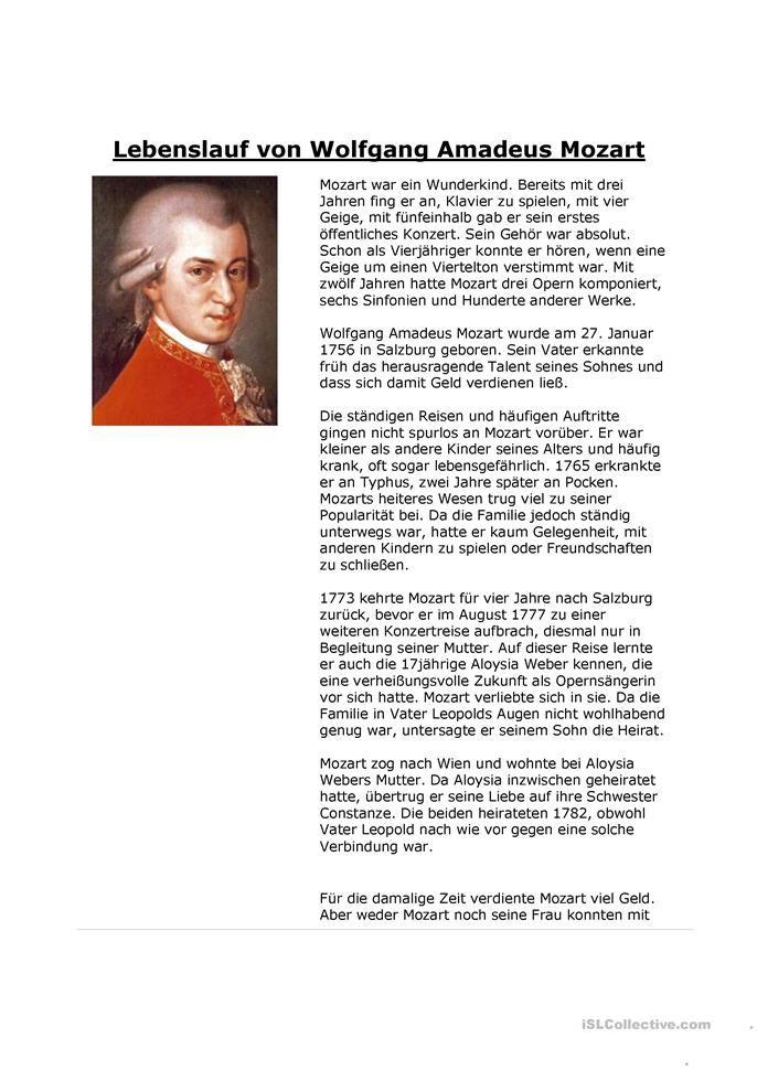Wolfgang Amadeus Mozart Amadeus Mozart Lebenslauf Mittelstufe