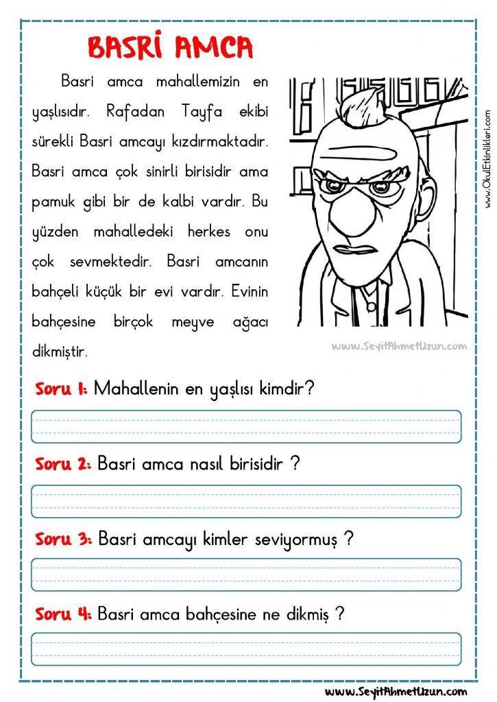OKUMA ANLAMA METNİ – BASRİ AMCA BASRİ AMCA – Okuma anlama metni Özgün bir çalışma olarak pdf formatında hazırlanmıştır. Sitede bulunan çalışmaları özgün içerik olarak..