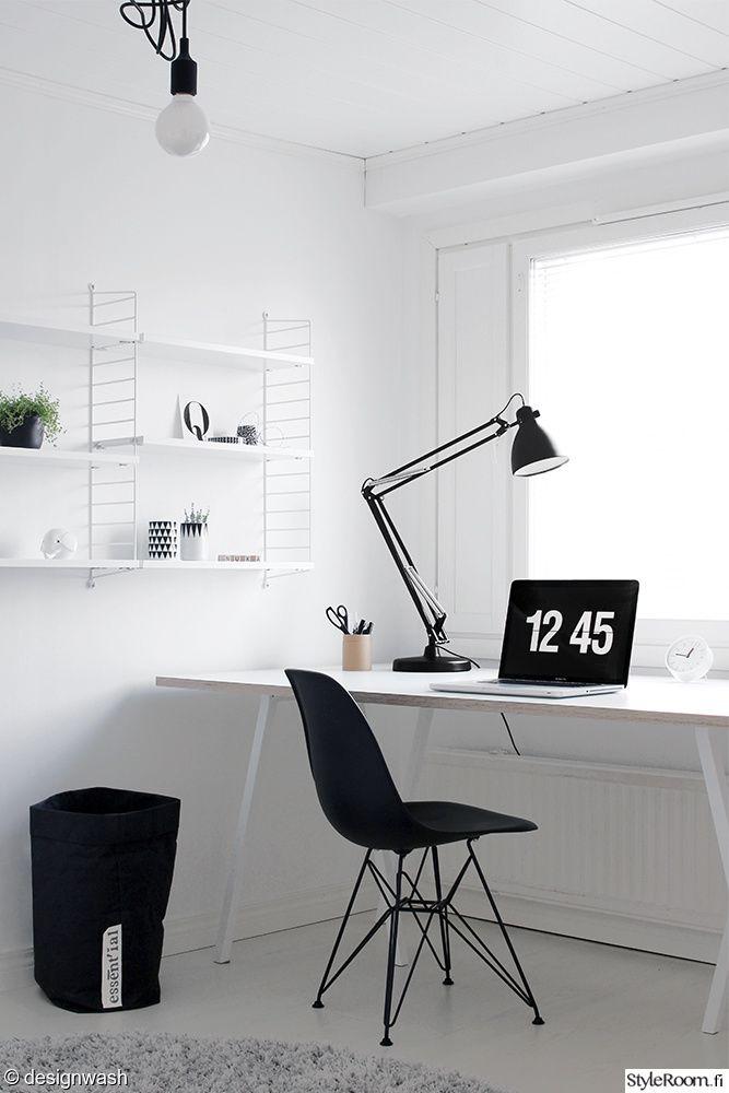 työhuone,dsr tuoli,hay loop stand,työpöytä,string hylly,arkkitehtivalaisin