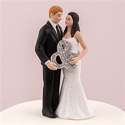 Mr. & Mrs. Wedding Cake Topper With Ampersand