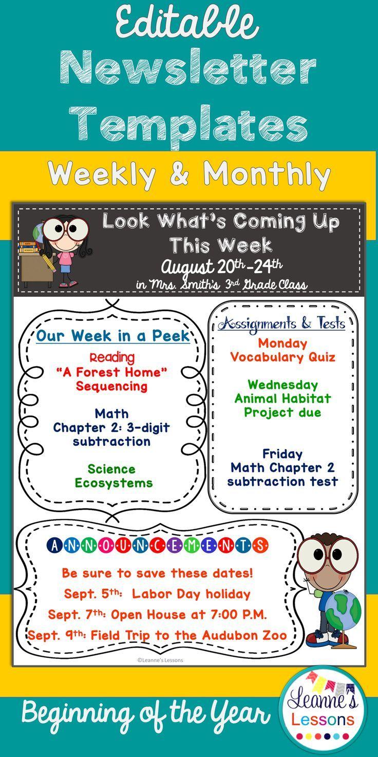 Meet The Teacher Newsletter Template Editable Back To School Meet The Teacher Teaching School Classroom