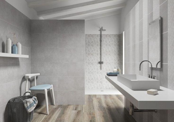 carrelage sol salle de bain imitation bois et carrelage mural gris clair