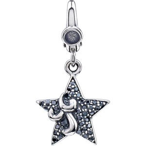 Sterling Silver Black Cubic Zirconia Star Charm Pendant with Lobster Clasp $45.99