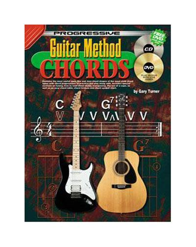 Guitar Method Chords - CD & DVD CP69066 - BC Wholesalers. Contains the most useful open, Bar and Jazz chord shapes of the most used chord types with chord progressions to practice and play along with. Includes special sections on tuning, how to read sheet music, transposing, the use of a capo, as well as an easy chord table, chord formula and chord symbol chart.