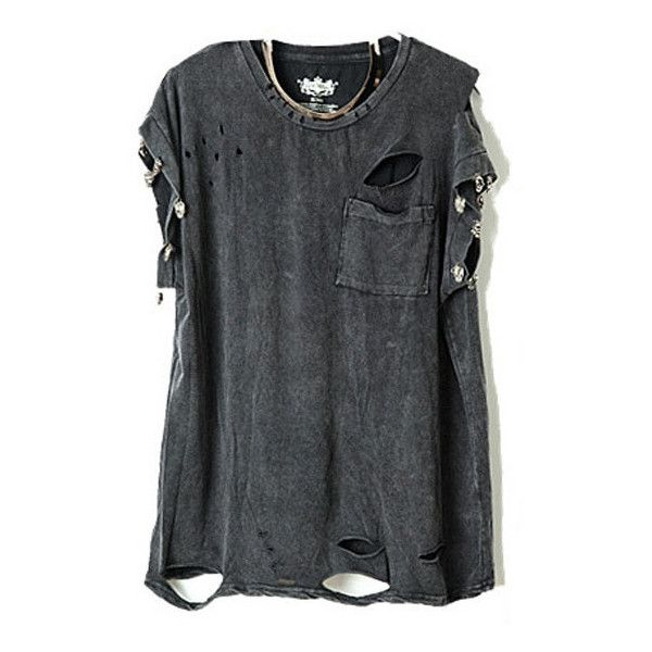 Punk Style Ripped T-Shirts With Skeleton Embellishment ($24) ❤ liked on Polyvore featuring tops, t-shirts, shirts, tees, pattern t shirts, punk shirt, ripped shirts, short t shirt and distressed t shirt