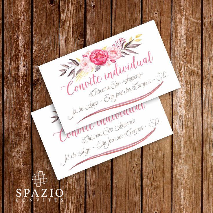 Convite individual para download, baixe convite individual editavel. modelo de convite floral para casamento.