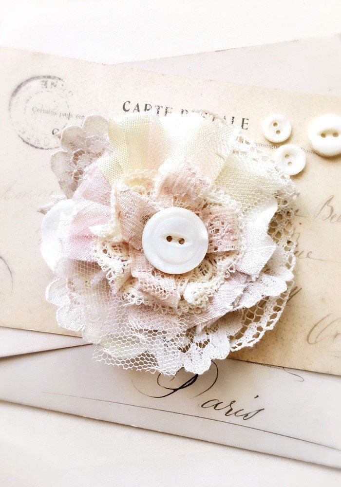 Vintage Lace Hair Flower Clip. A beautiful shabby chic accent for your cute do! Handmade by Rosy Posy Designs