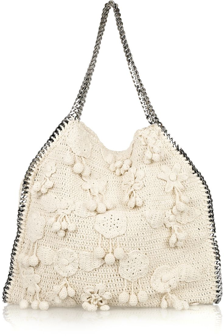 Stella McCartney - Falabella Large crocheted shoulder bag | Net-A-Porter #crochetbag #crochetinspiration