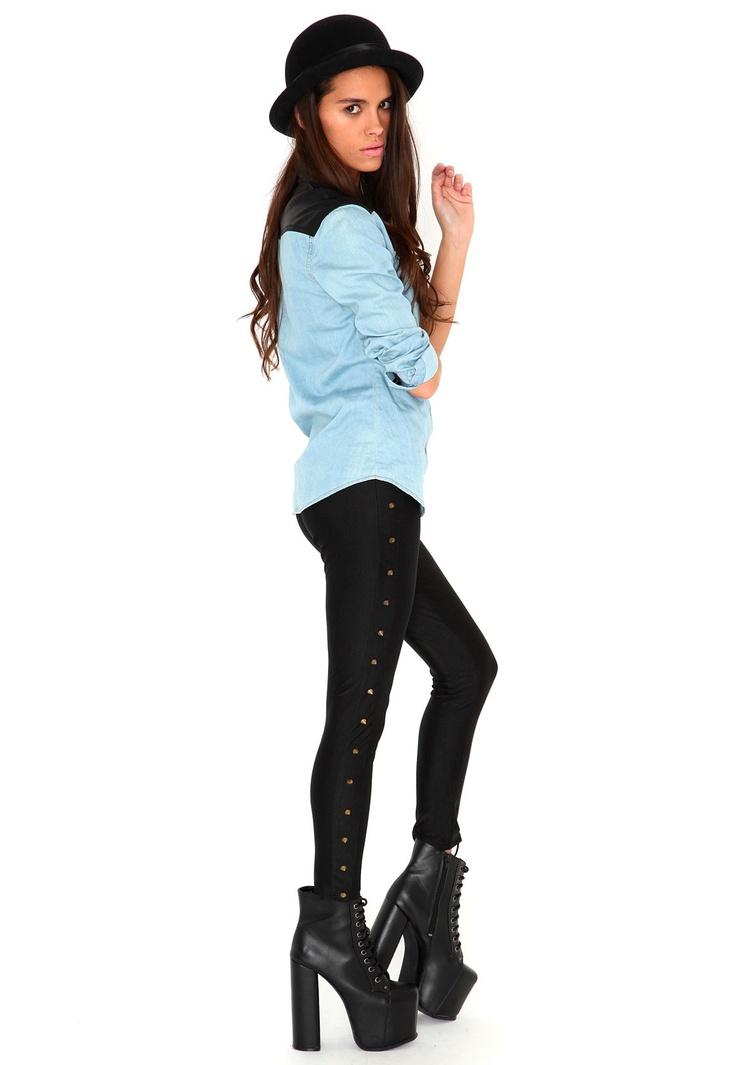 Sylvia Stud Disco Leggings In Black- Need a pair of disco leggings!!! #MGWinterWardrobe