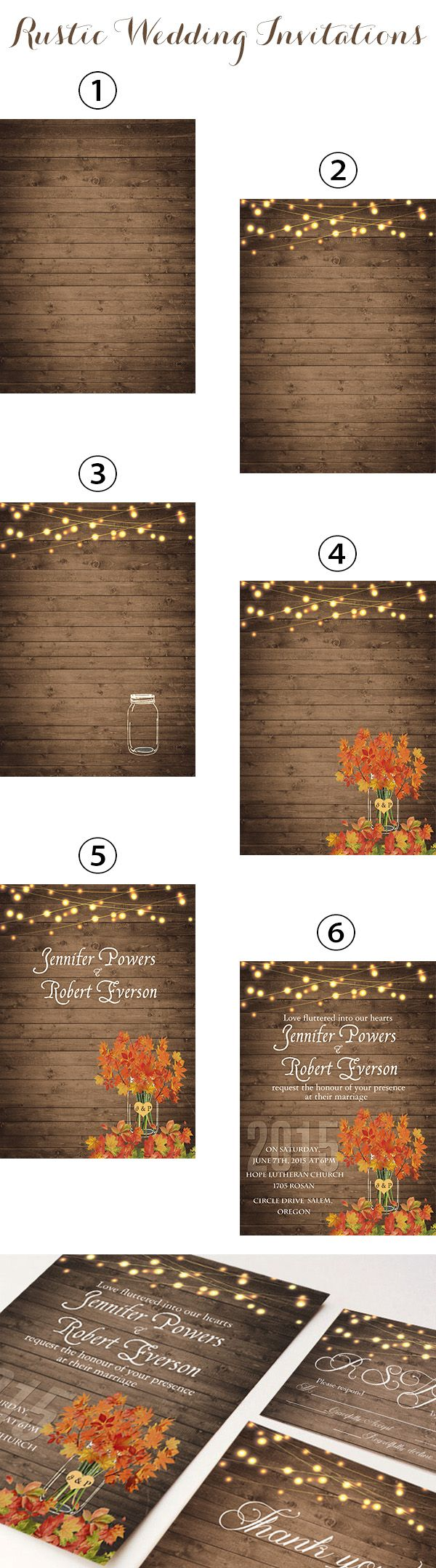 rustic fall wedding invitations inspired by mason jars and string lights backyard wedding ideas