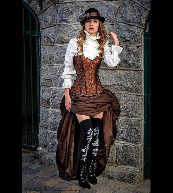 Halloween costume & makeup - Steampunk Brown Corset w/ BROWN Bustle Skirt Victorian Cosplay Costume Halloween Dress Goth on Etsy