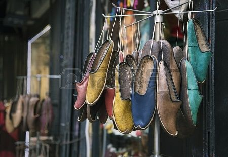 Traditional turkish shoes selling in the street Stock Photo - 15653711