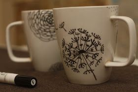 Dried Figs and Wooden Spools: flower mugs:a tutorial