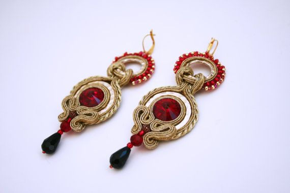 Gold lion / handmade soutache earrings gold and ruby red by agtesa