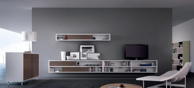 Conjunto de muebles de sal n blanco y puertas de cajones for Conjunto muebles salon