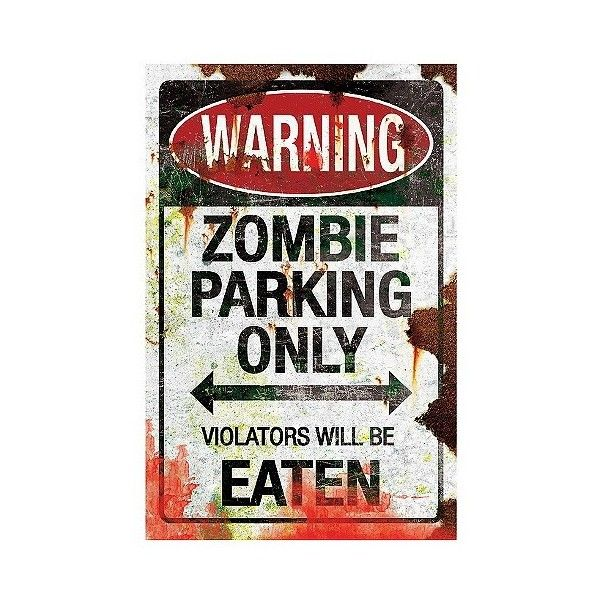 """Halloween \""""Zombie Parking\"""" Metal Sign, Multi-Colored ($14) ❤ liked on Polyvore featuring home, home decor, halloween, metal signs, metal parking signs, colorful home decor, halloween signs and metal home decor"""