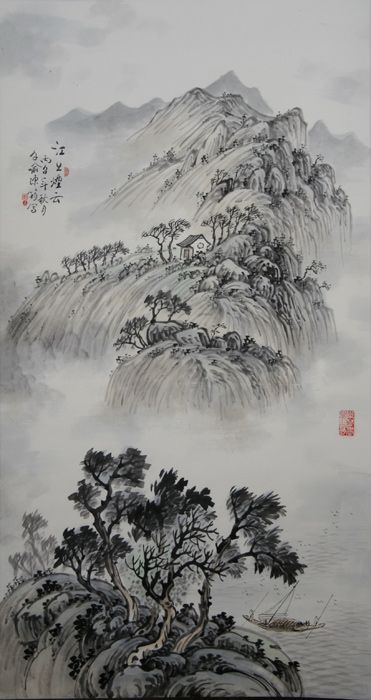 Smoky Clouds over the River by Chinese landscape artist Chen Jun