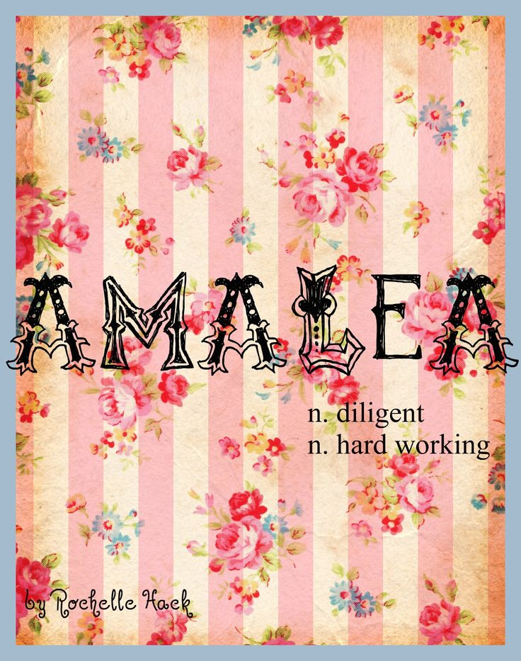 Baby Girl Name: Amalea (a-may-lea). Meaning: Diligent; Hard Working. Origin: Italian; German. http://www.pinterest.com/vintagedaydream/baby-names/