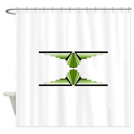 Art deco patterns in green Shower Curtain