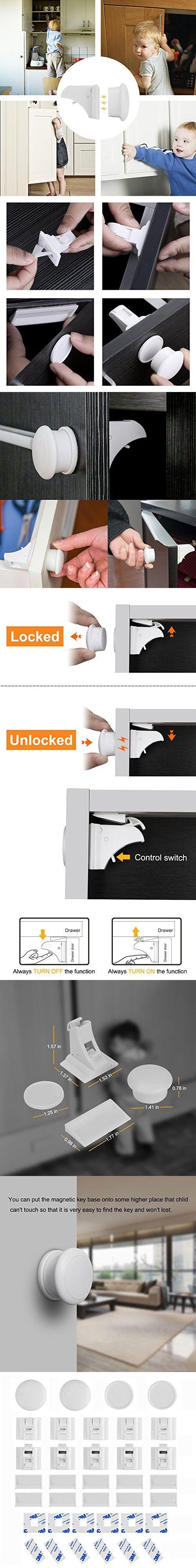 Safety 1st 8 lock complete magnetic locking system set safety 1st - Linkax Baby Magnetic Locks Safety Magnetic Cabinet Lock Set 10 Locks 2 Keys