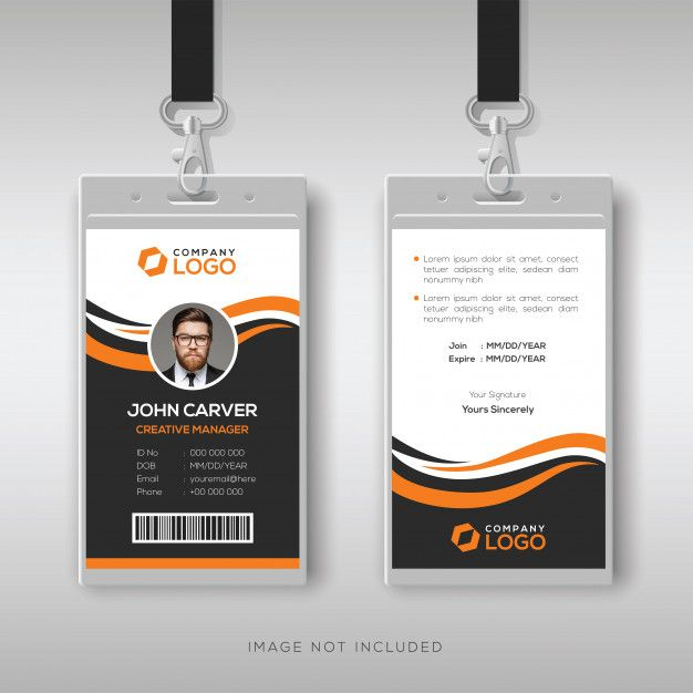 Creative Modern Id Card Template With Orange Details Id Card Template Graphic Design Business Card Card Template