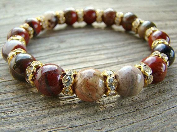Apple Jasper Stretch Bracelet, Gemstone Stacking Bracelet with Clear Rhinestone Spacer Beads by BeJeweledByCandi on Etsy, $36.00