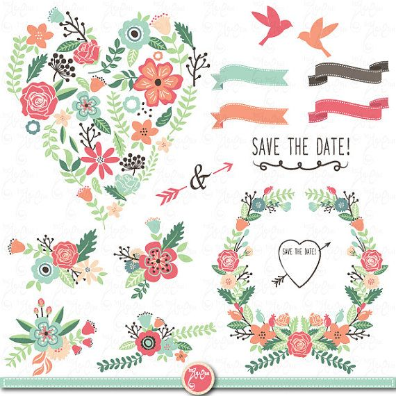 Wedding Clipart Design,Wedding Flora clipart,Vintage Flowers,Floral Frames,Wreath,Wedding invitaion Wd004 Personal and Commercial Use.