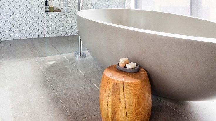 Kyal + Kara's main bathroom | The Block Fans v Faves. - warm and inviting combination of grey, white and wood