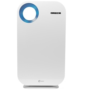 Smart air purifier  Elements: white on metal, simple flat surfaces. Easy to clean.