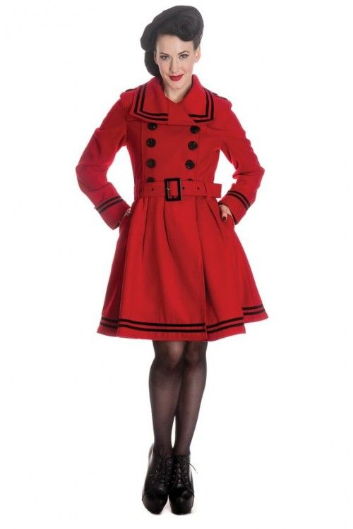 Hell Bunny 1950s Millie Swing Coat Red