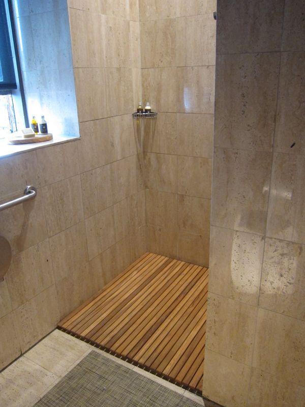 teak shower install for master