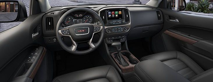 INTERIOR Inside the 2017 Canyon Denali pickup truck, you'll experience premium amenities and advanced technologies that you would expect to find in a larger truck.