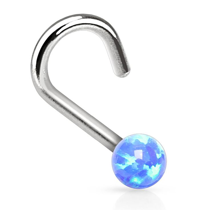 BodyJ4You® Nose Ring Screw Stud Blue Opal Stone Surgical Steel 20G Body Piercing Jewelry