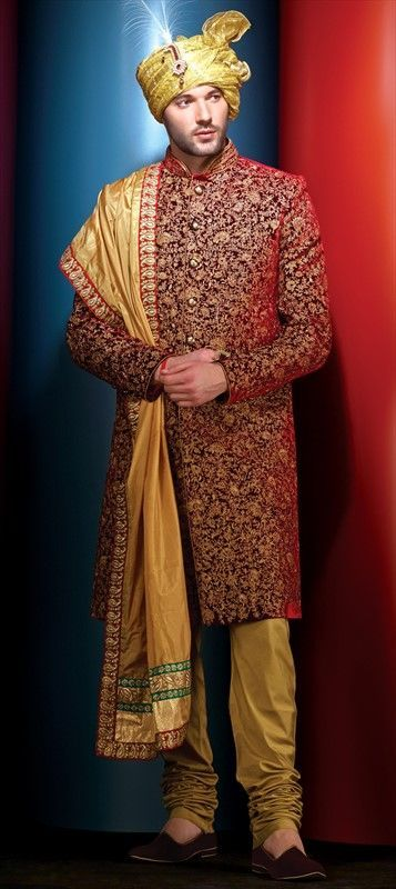 502004 Red and Maroon color family Sherwani in Velvet fabric with Machine Embroidery,Thread,Zari work .