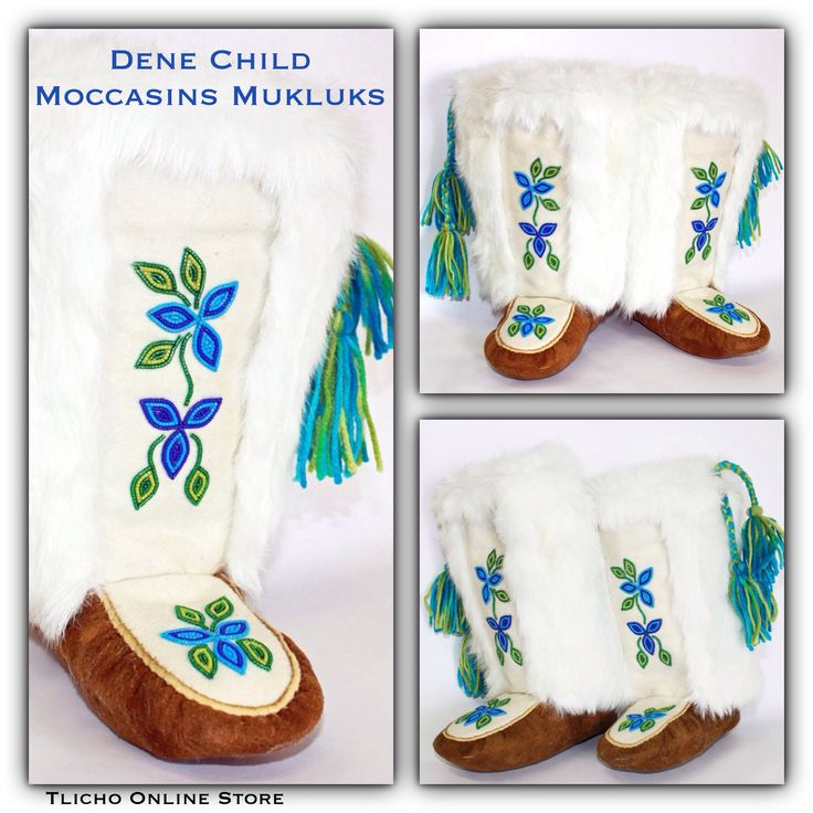 #Dene #Child #Moccasins #Mukluks made by a #Tlicho from Behchoko, NT. Kid's Size 12.5-13 for $305. Available here -> http://onlinestore.tlicho.ca/products/dene-child-moccasin-mukluks