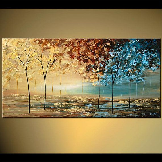 Paysage brun bleu couteau moderne abstrait acrylique peinture arbres fleurissant par Osnat - sur commande - 48 « x 24 »