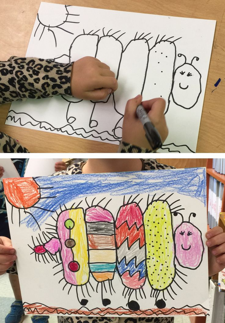 "Draw a Simple Caterpillar. Start with five vertical lines, then connect with curves that the top and bottom so you have a very ""squishy"" caterpillar. #caterpillar"