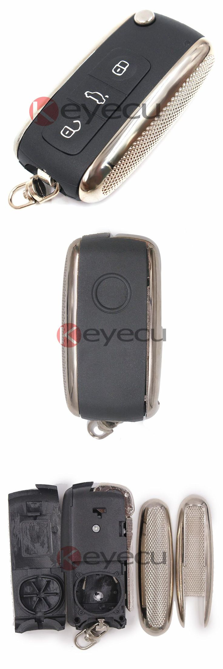 [Visit to Buy] 3 Buttons Modified Flip Remote Key Shell for Volkswagen Phaeton Touareg (Indicator Led in the upper) #Advertisement